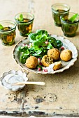 Vegan lupin falafel with tahini dip and lamb's lettuce