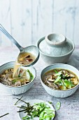 Miso soup with lupin fillets, soba noodles and shiitake mushrooms (Japan)