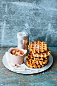 Lupin and spelt waffles with rhubarb and strawberry compote