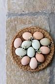 Multicoloured Farm Eggs in a basket