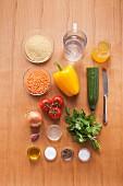 Zutaten für veganen Couscous-Linsen-Salat