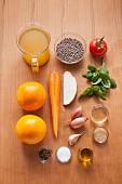 Zutaten für bunten Linsensalat