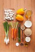 Zutaten für Reis-Champignon-Salat mit Joghurtdressing