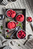 Raspberry sorbet in small bowls on a metal tray and sheet music
