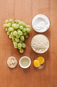 Ingredients for baked almond quark with grapes