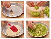 Gebackenen Mandelquark mit Weintrauben zubereiten