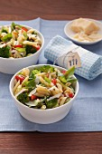 Vegetarian pasta salad with broccoli and basil