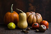 A selection of different types of pumpkin: Hokkaido, butternut squash and Muscat pumpkin