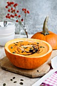 Pumpkin soup with pumpkin seeds and pumpkin oil