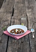 Black bean stew with chickpeas and sweetcorn