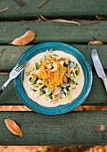 Vegetarian pumpkin and nut mash with creamy leek