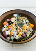 Vegan orange couscous with root vegetables