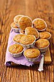 Carrot muffins on a kitchen table