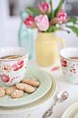 Heart shaped cookies and tea
