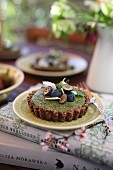 Vegan matcha tartlets with blueberries