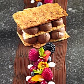 Millefeuille with chocolate mousse