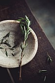 Rosemary in a stone bowl