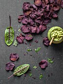 Purple sweet potato chips with guacamole