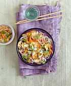 Asian orange pepper and glass noodle salad with tempeh
