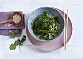 Japanese seaweed salad with sesame seeds and coriander
