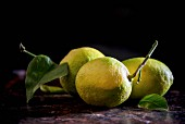 Three lemons with stems and leaves