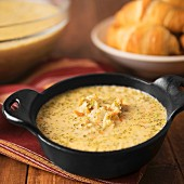 Broccoli and cheese soup with cheddar