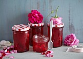 Strawberry and rose jelly with rosewater