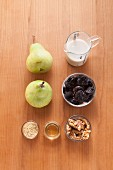 Ingredients for vegan plum and pear spread