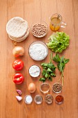 Ingredients for falafel rounds in pita bread