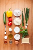 Ingredients for vegetable muffins and cheese dip