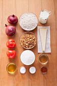 Ingredients for cheese and onion muffins with tomato chutney