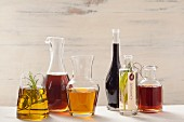 Various different oils and vinegars