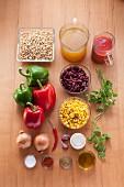 Zutaten für Chili sin carne mit Sojaschnetzel