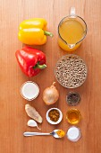 Ingredients for vegan lentil and yellow pepper curry