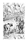 Dinosaur extinction, illustration
