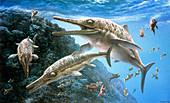 Temnodontosaurus ichthyosaurs, illustration