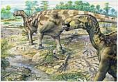 Mantellisaurus dinosaur trackway, illustration