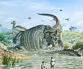 Deinosuchus reptile attacking a dinosaur, illustration