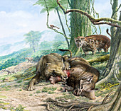 Andrewsarchus preying on Embolotherium, illustration