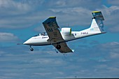 Electric aircraft in flight.