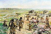 Palaeolithic Tanana River settlement, illustration