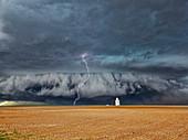 Lightning strike over wheat field, Kansas, USA