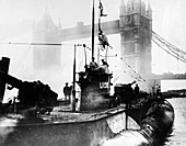 Surrendered German submarine in London, UK, 1919