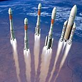 Ariane rockets, illustration