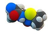 Ampicillin antibiotic drug molecule