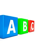 Three cubes with letters a, b, and c