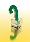 Question mark on transparent box