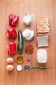 Ingredients for French toast bake with red pepper