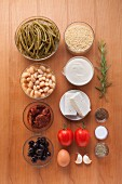 Ingredients for Greek vegetable bake with feta