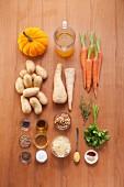 Zutaten für vegetarisches Ofengemüse mit Walnusspesto